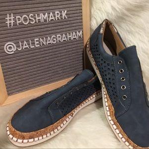 Blue suede tennis shoes
